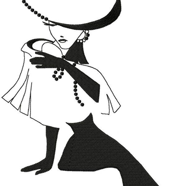 motif de broderie machine femme chic avec un chapeau
