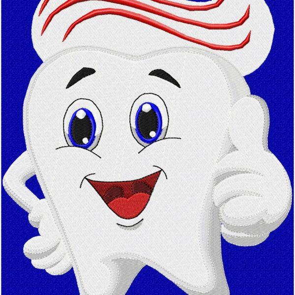 Motifs de broderie machine dentier et brosse à dent