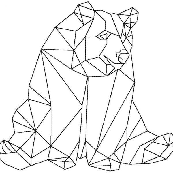 motif de broderie machine ours graphique cubique
