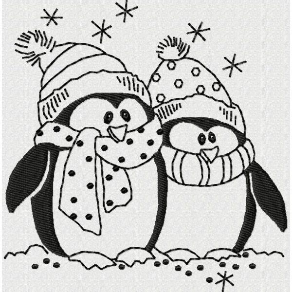 motif de broderie machine pingouin de noël