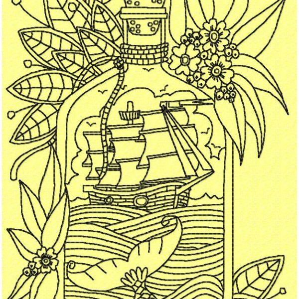 motif de broderie machine bateau dans une bouteille redwork
