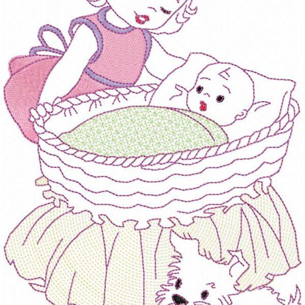 motif de broderie machine petite fille avec son chien et son berceau ,qui joue à la poupée
