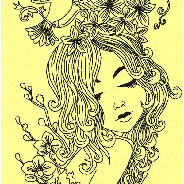 motif de broderie machine jolie fille penseuse avec une colombe et des fleurs