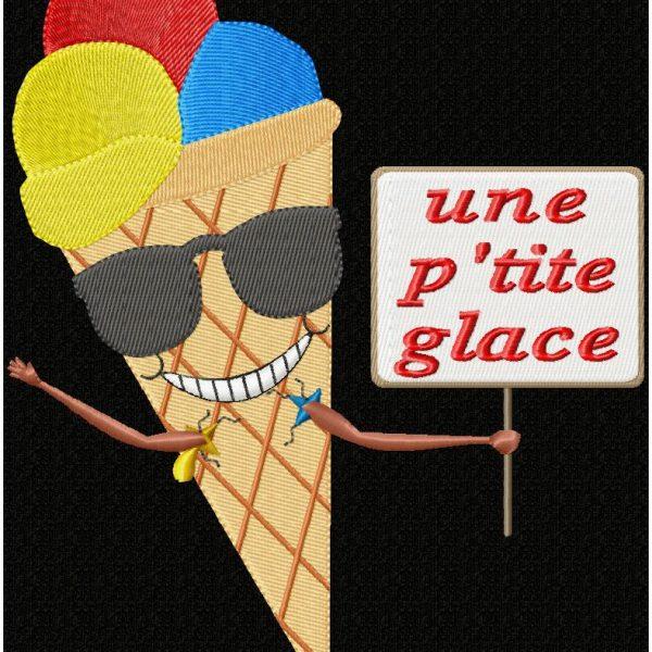motif de broderie machine cornet et boules de glace avec des lunettes de soleil