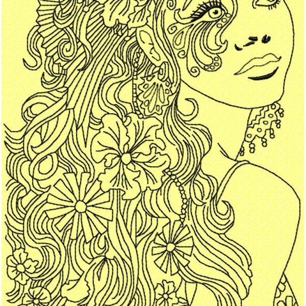 motif de broderie machine femme avec cheveux fleuris