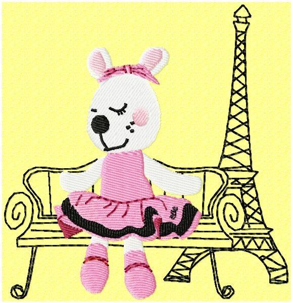 Lili belleà Paris motif de broderie machine d'une jolie souris assise sur un banc près de la tour Eiffel