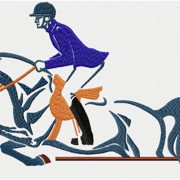 motif de broderie machine super cavalier avec son cheval