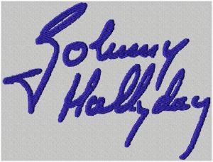 signature johnny hallyday en motif de broderie machine