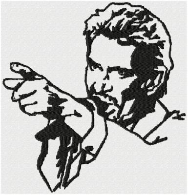 johnny hallyday et signature motif de broderie machine