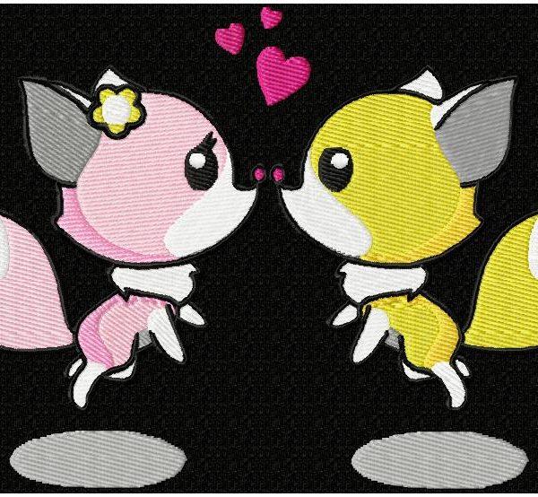motif de broderie machine petits renards amoureux