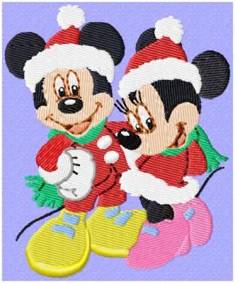 LES SOURIS DE NOËL motifs de broderie machine Mickey et minnie à noël