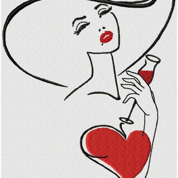 UN VERRE D'AMOUR motif de broderie machine d'une femme avec un chapeau avec un verre de vin
