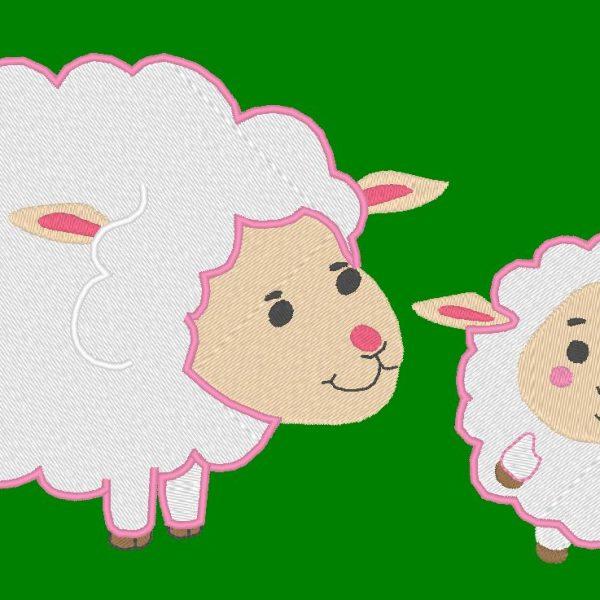 motif de broderie machine brebis et son agneau