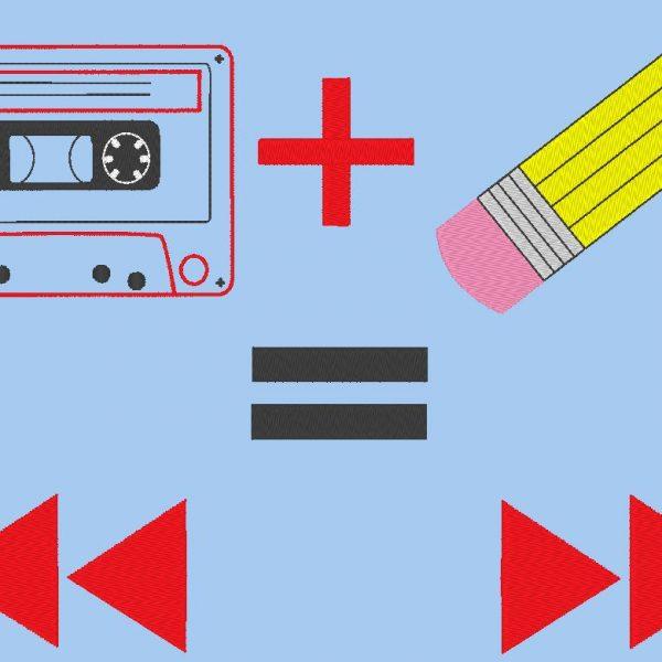 cassette audio vintage motif de broderie machine