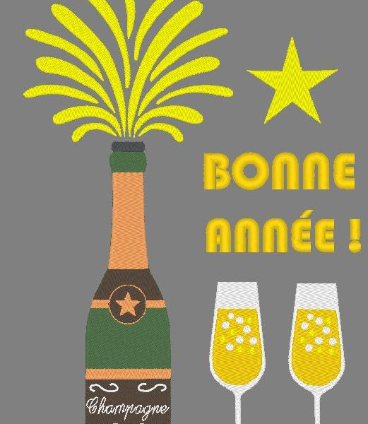 motif de broderie machine champagne du réveillon