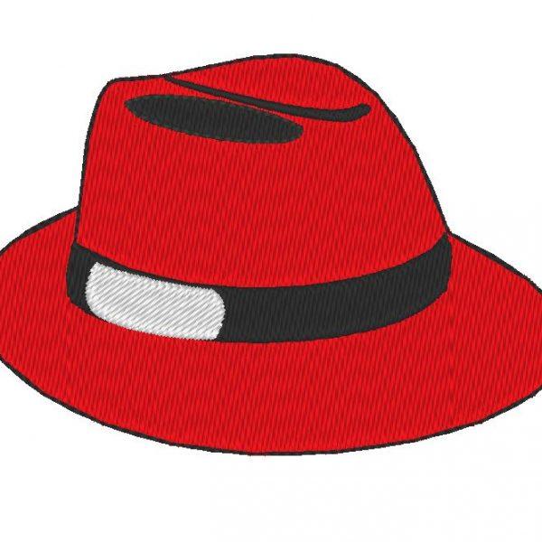 chapeau rouge motif de broderie machine