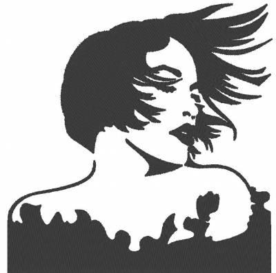 motif de broderie machine cheveux au vent classic vintage