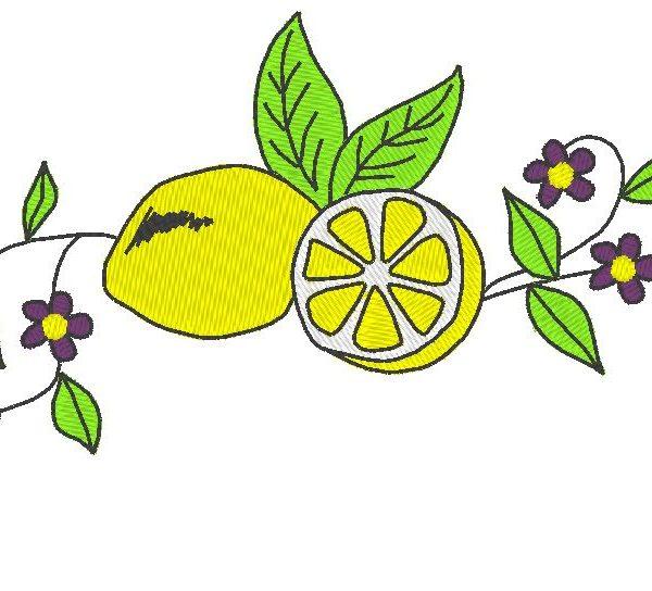 motif de broderie machine citron et fleurs