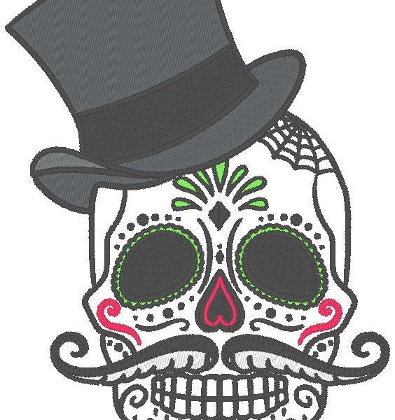 motif de broderie machine crâne avec un chapeau haut de forme