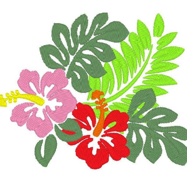 motif de broderie machine de plantes exotiques hibiscus hawaïen
