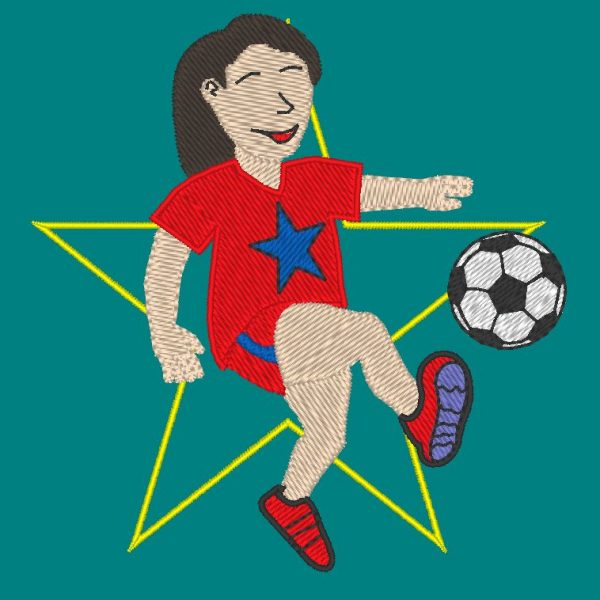 footballeuse et footballeur motif de broderie machine