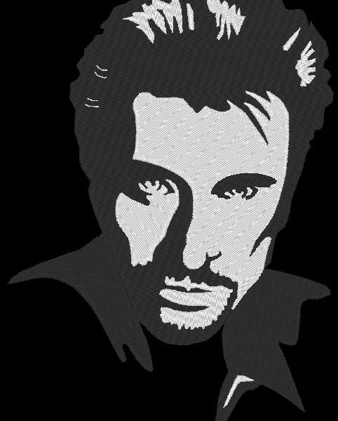 motif de broderie machine Johnny Hallyday 1