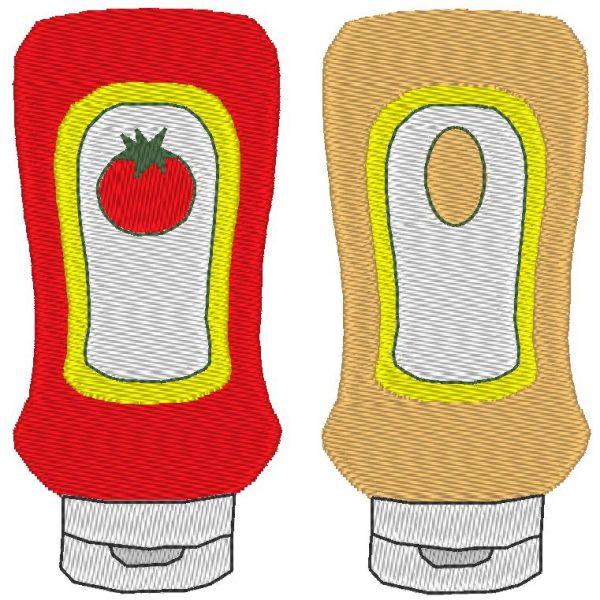ketchup mayonnaise motif de broderie machine
