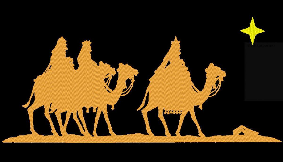 motif de broderie machine les rois mages sur des dromadaires dans le désert