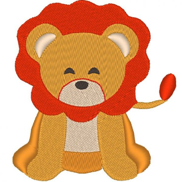 adorable lion motif de broderie machine