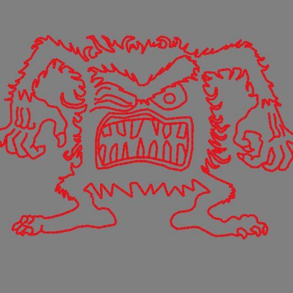 mauvais poil motif de broderie machine d'un monstre poilu et énervé