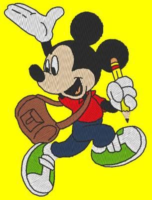 motif de broderie machine Mickey écolier