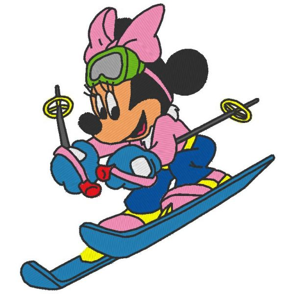 minnie au ski motif de broderie machine
