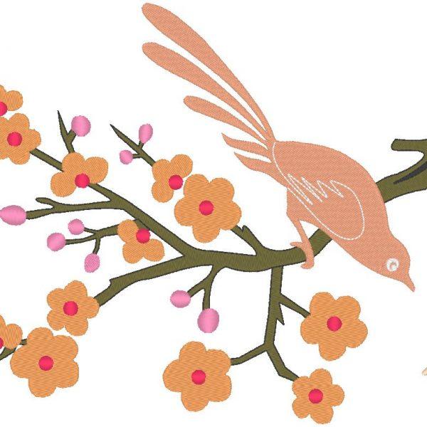 motif broderie machine oiseau sur une branche