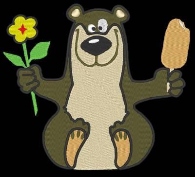 ours heureux motif de broderie machine