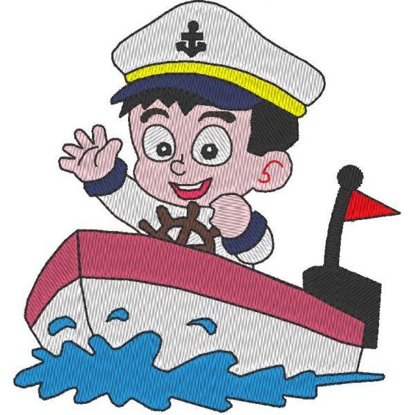 motif de broderie machine petit matelot dans son bateau