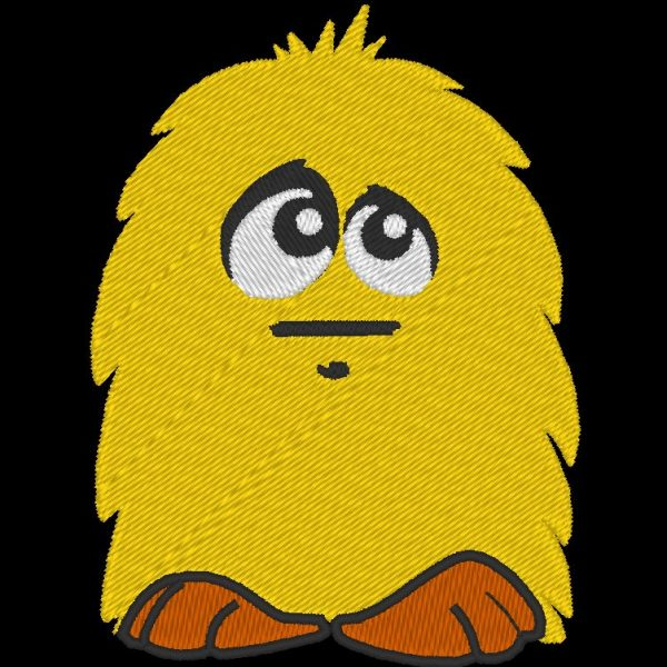 petit poilu jaune motif de broderie machine