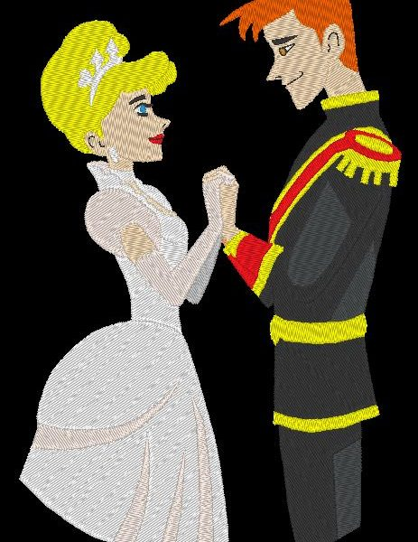 motif de broderie machine belle princesse et prince disney