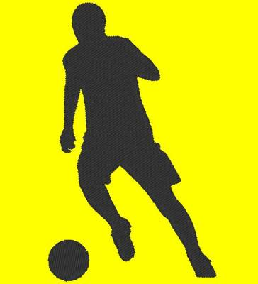 silhouette de footballeur en motif de broderie machine