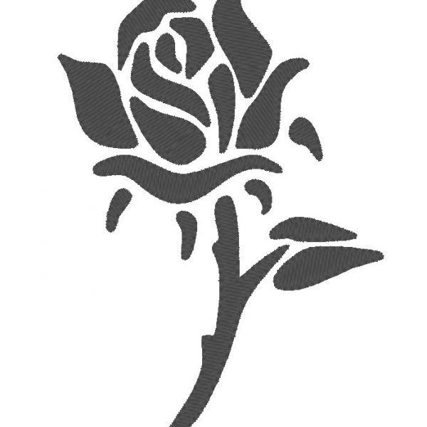 motif de broderie machine d'une silhouette de rose noire silhouette de rose