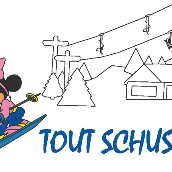 motif de broderie machine Tout schuss !!! minnie au ski