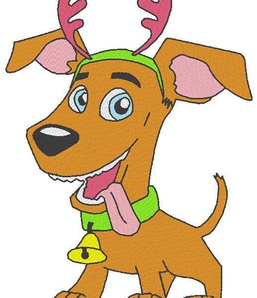 motif de broderie machine toutou de noël chien avec sa clochette et ses cornes de cerf
