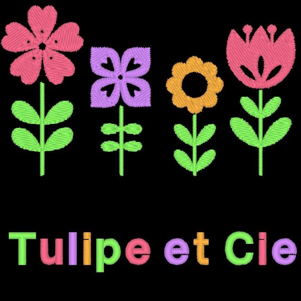 motif de broderie machine tulipe et compagnie bouquet de fleurs
