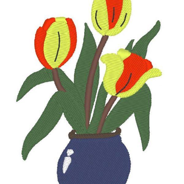 motif de broderie machine d'un vase fleuri