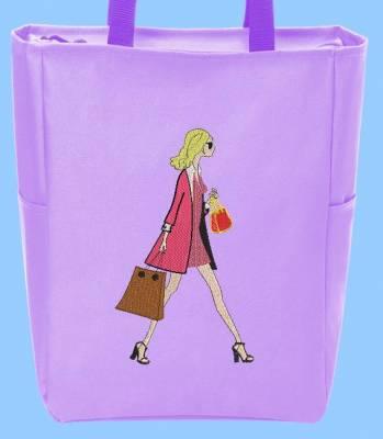 élégance à la française motif de broderie machine pour tote bag