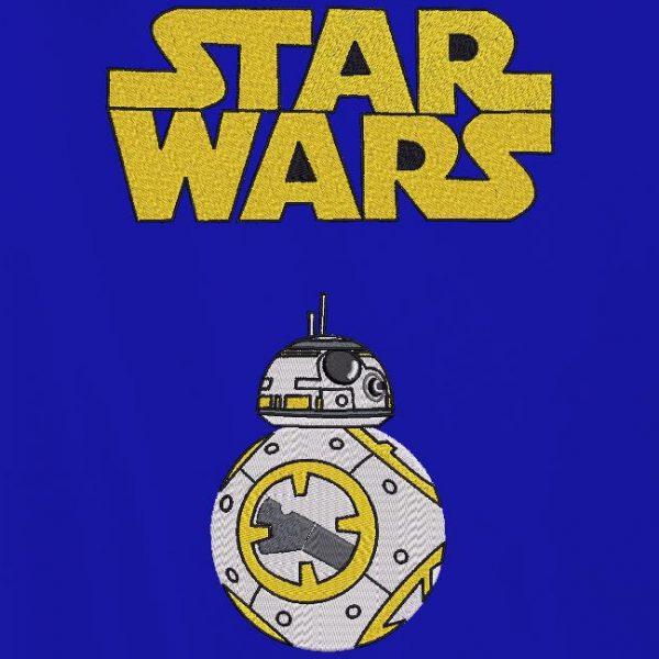 Motif de broderie machine du petit robot BB 8 de la saga star wars .