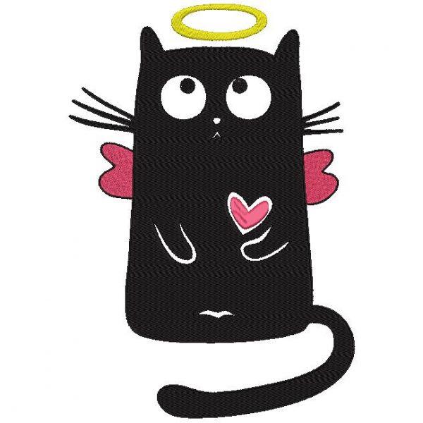 Motif de broderie machine d'un chat angélique avec son auréole ses petites ailes et son cœur qui bat