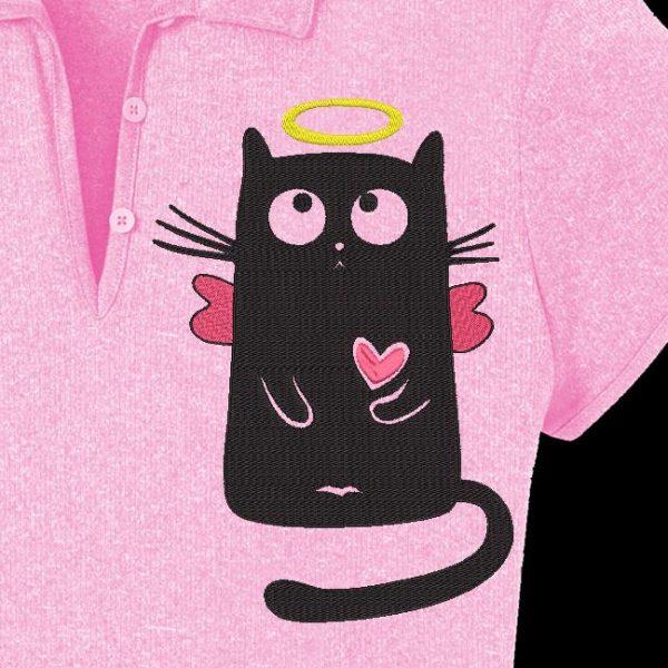 Motif de broderie machine d'un chat angélique avec son auréole ses petites ailes et son cœur rose