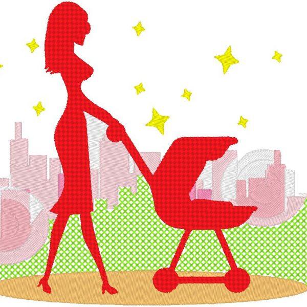 balade en ville motif de broderie machine d'une femme avec une pousette