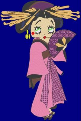 motif de broderie machine betty geisha avec son kimono traditionnel