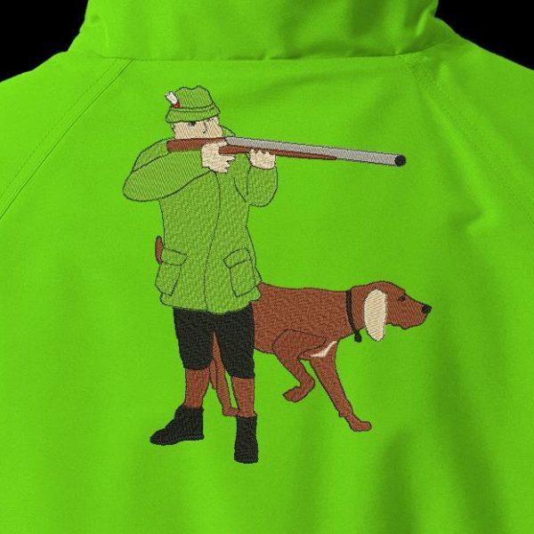 chasseur et son chien de chasse motif de broderie machine